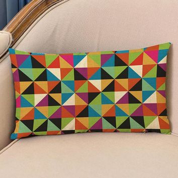European Style Color Geometric Pattern Rectangular Cotton Linen Throw Pillow Home Sofa Chair Backrest Cushion 30*50 Cm
