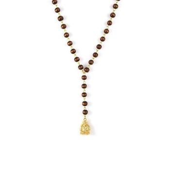 Gold Buddha on Brown Rosary Necklace