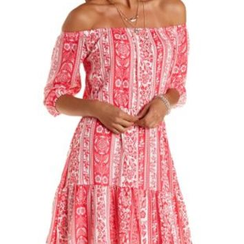 Coral Boho Floral Print Peasant Dress by Charlotte Russe