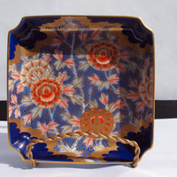 Rare Antique Japanese Arita Porcelain Square Dish by Fukagawa ca. 1900-1920