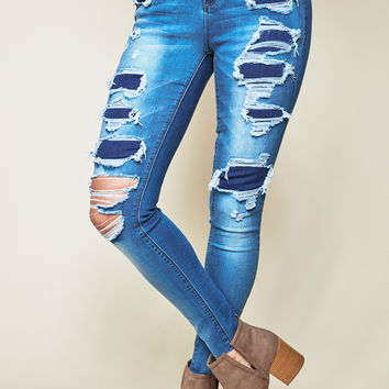 DESTROYED MIAMI HIGH RISE SKINNY JEAN