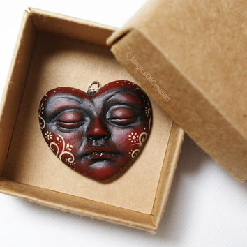 OOAK heart pendant, great for Valentine's: Love is but a dream! One of a kind romantic jewelry, original air dry clay portrait sculpture