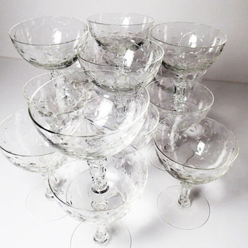 Fostoria Christiana Crystal Cocktail Stemware Glasses, Champagne, Sherbet barware set of 15, Cut glass Bar ware.