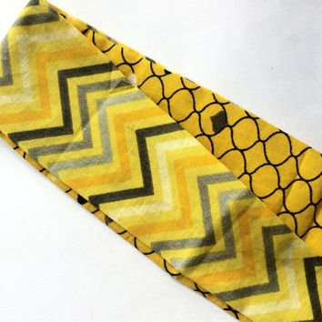 Women's Fabric Headband - Reversible Headband for Women - Yellow Chevron Fabric Headband - Geometric Print Headband for Women and Teen Girls