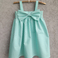Mint/White Triangle Baby/Toddler Dress, 100% Organic fabric, Easter Dress