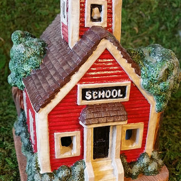 Hand Painted House, School House, Christmas Village House, Ceramic House, Holiday Tea Light House, Collectible House, Vintage