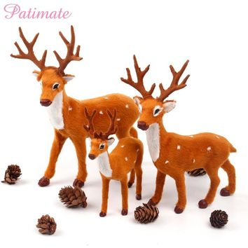 PATIMATE Simulated Plush Reindeer Furry Deer Merry Christmas Decor for Home Christmas Ornament Navidad Happy New Year 2019