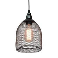Vintage Industrial Pendant Light with Metal Mesh and Wire Shade With Base
