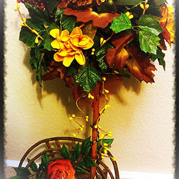 Topiary Floral Arrangement: Autumn inspired Topiary Set in a Wooden Love seat (Handmade)