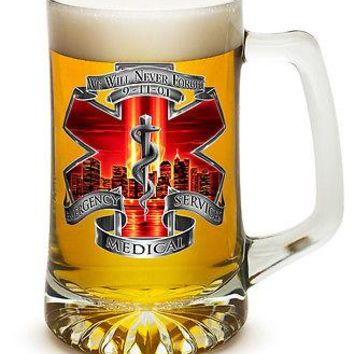 EMS- NEVER FORGET- WITH RED SKY AND SNAKE- 25 OZ  LARGE TANKARD BEER GLASS