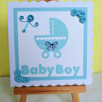 Baby boy card, new baby card, quilled card, new baby boy, baby boy, new baby boy card, baby card, handmade card, greeting card, new baby