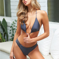 NOOKIE Oasis Slide Triangle Bikini Charcoal Swimwear