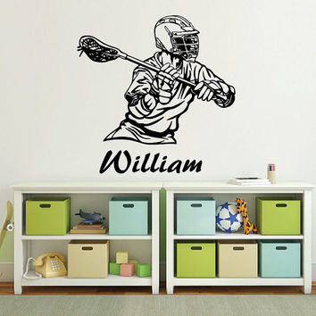 Wall Decal Name Vinyl Sticker Personalized Custom Name Decals Art Home Decor Mural  Lacrosse Player Kids Children Name Boys Girls AN597