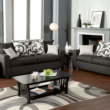 2 pc colebrook contemporary style medium gray fabric sofa and love seat set with square arms made in the usa