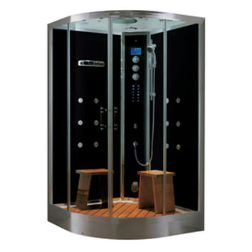 Shop Northeastern Bath Black Tempered Glass Wall Acrylic Floor Round Steam 10-Piece Corner Shower Kit (Actual: 41-in x 88-in x 48-in) at Lowe's
