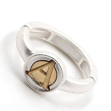 Matte Silver and Gold Wax Seal Initial Ring