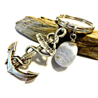 Antique Silver Anchor Keychain, Nautical Key Chain, Blue Agate Gemstone Key Ring, Unisex Gift, Cool Car Accessory, Nautical Gift