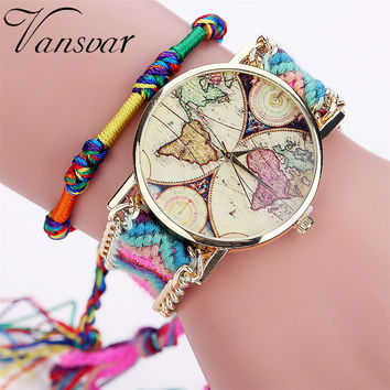 Vansvar Brand Handmade Braided World Map Friendship Bracelet Watch Rope Ladies Quartz Watch Relogio Feminino Drop Shipping 2040