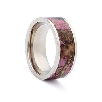 Pink Camo Wedding Rings by 1 CAMO  Pink Camo Promise Rings for Women  Flat Titanium
