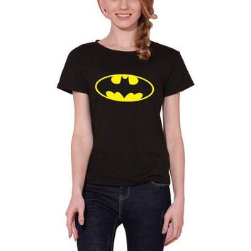 DKLW8 New Women T shirt Batman Print Funny Casual Tops Basic Bottoming Short Sleeve Loose Shirt For Lady Tops Tees S-XXL