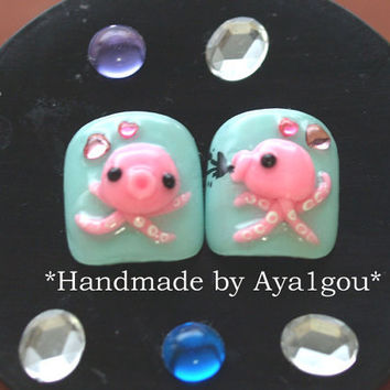 Octopus nails, kawaii nails, toe nails,  3D nails, Japanese crazy nail art, tentacle, nautical, Takopyon