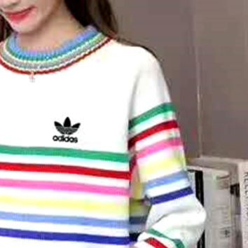 """Adidas"" Letter and Logo Print Long Sleeve Sweater I-MLDWX"