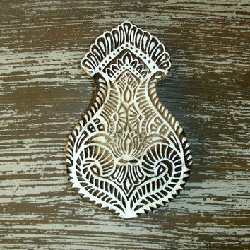 Hand Carved Wood Stamp: Large Indian Printing Block Stamp, Lotus Flower, for Textiles, Ceramics, Pottery, Bohemian Decor from India
