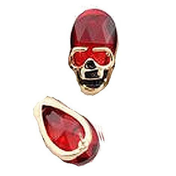 Basket Hill , Silver Tone and Red Rhinestone Skull Post Earrings