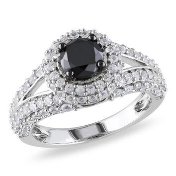 1 CT. Enhanced Black Diamond and Lab-Created White Sapphire Split Shank Ring in Sterling Silver
