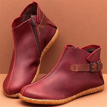 Ankle Boots Women PU Leather Autumn Winter