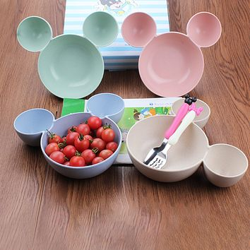 New Kids Bowl Dinnerware set Cartoon Creative Plate Children's Plastic Tableware Lovely Lunch Tray Dishs Funny