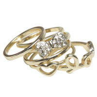 Bow Love Midi Ring Set | Shop Jewelry at Wet Seal