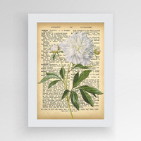 Printable Dictionary Art, Vintage Flower Dictionary Poster, Dictionary Art Print, Botanical Wall Decor, Watercolor Poster, Flower Wall Art