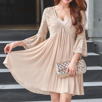 Dabuwawa Loose Flare Sleeve Dress V-Neck High Waist Dress Chiffon Sexy Hollow Out Elegant Lace Dress Women Vintage #D17ADR053