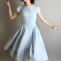 Adorable Sky Blue Vintage Tea Party Cupcake Scallop Dress by zwzzy