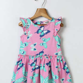 Pink Butterfly Angel-Sleeve Dress - Infant, Toddler & Girls