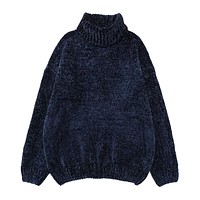 High quality Autumn Winter women's Port chenille velvet Wind Gold Velvet Neil turtleneck jumper knitted sweater female