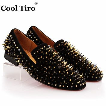 COOL TIRO Handcrafted Smoking Slipper Mixed Spikes Black Suede Loafers