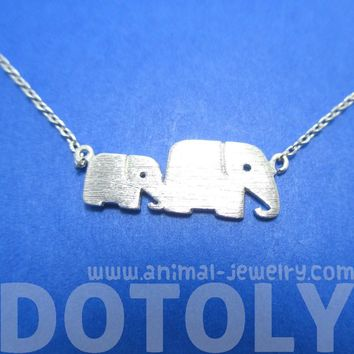 Mother and Baby Elephant Animal Silhouette Charm Bracelet in Silver | DOTOLY
