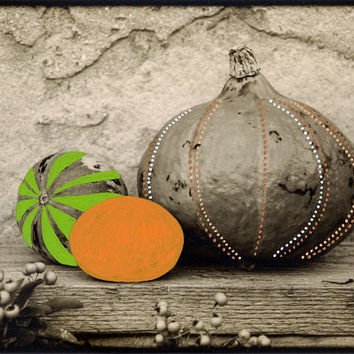 hand-colored pumpkins on sepia photograph // hand-painted pumpkins/photo art/vintage styled/wall decor/halloween/fall decor/orange/green