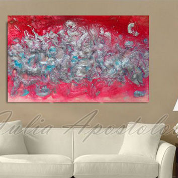 Red Painting, Abstract Art, Large Print, Pink, Silver, Turquoise, Modern Art, Red Home Office Decor, Contemporary Wall Art, Julia Apostolova