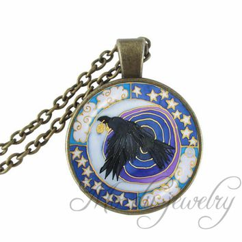 Raven Mandala Glass Cabochon Pendant Animal Guide Necklace Shamanic Choker Spiritual Meditation Necklaces Pagan Wiccan Jewelry