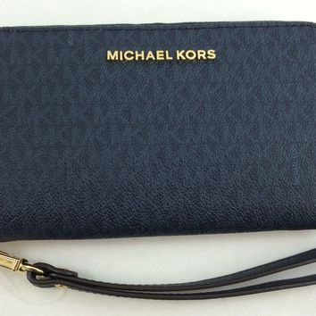 New Michael Kors MK Jet set Large Flat Multifunction Phone Case Wristlet Blue