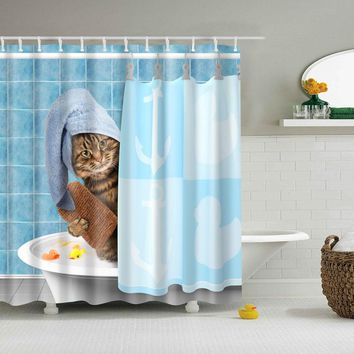 Cat in the Shower Curtain