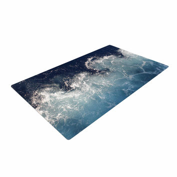 "Suzanne Carter ""Sea Spray"" Navy Ocean Woven Area Rug"