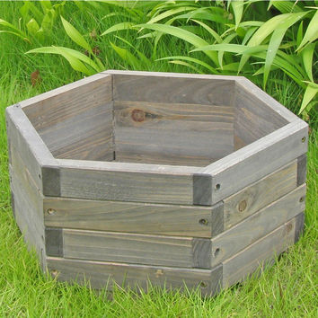 Small 16 x 16 x 7-inch Hexagon Fir Wood Garden Planter Box