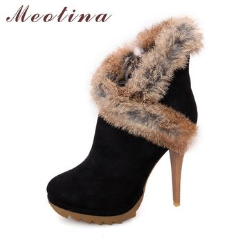 Meotina Boots Women Ankle Platform Boots