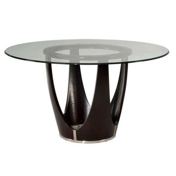Bassett Mirror Baxter 54 Inch Round Glass Top Dining Table in Dark Cappuccino