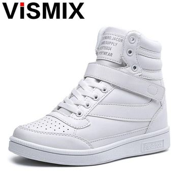 VISMIX 2017 Spring Autumn Ankle Boots Heels Shoes Women Casual Shoes Height Increased High Top Shoes Mixed Color Winter Boots