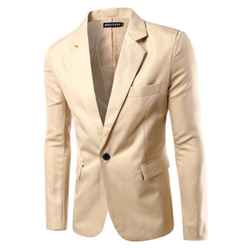Men's one button solid color Suit Jackets New fashion Business casual dress Slim Suits & Blazer Formal suits 8 colors